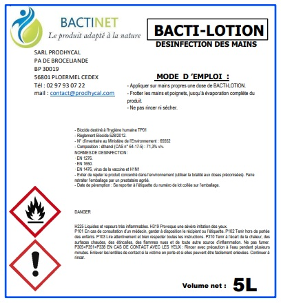 Bactinet BACTI LOTION Bactinet Désinfectiondesmains Lotionhydroalcoolique Gelhydroalcoolique 769